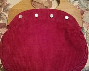 Vintage Burlington Burgundy Corduroy Bermuda Bag Purse Wooden Handles 1970s Buttons