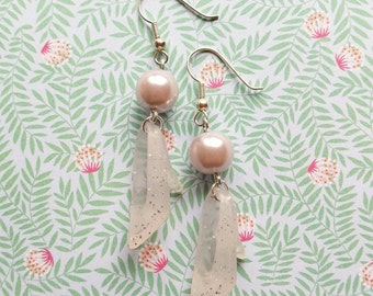 White sparkling barbie shoe earrings great gift for young and old girls original jewelry handmade barbie - free shipping