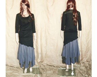 Black assymetric, pointy, earthy, faery, fairy top woodland M