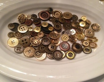 Gold Four Hole Buttons - 100 assorted gold 4 hole buttons