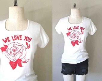 Vintage 80's t-shirt WE LOVE YOU soft white rose - S/M