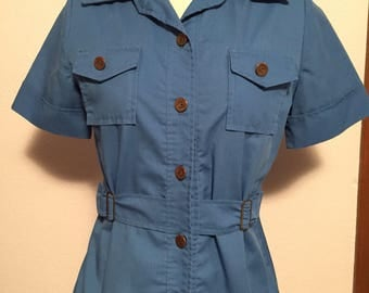 Susan Richards royal blue uniform style button up blouse with cinched waist