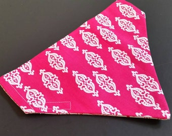 Hot pink reversible dog bandanna -over collar style