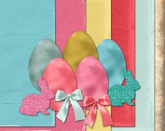 Easter Parade digital kit with foil eggs and glitter bunnies. Commercial Use okay. scrapbook invitations supplies cardmaking