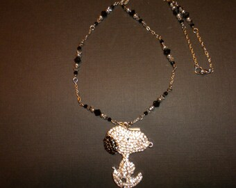 New Crystal Rhinestone Snoopy Necklace