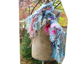 RESERVED Beautiful Romantic Art To Wear Small Turquoise Scarf SWEET BERRIES  Boho Gipsy Leopard Accents Fairy Tattered