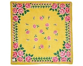 VINTAGE HANKIE Rows of Pink Roses on Bright Yellow Gold Field Cotton Mid-Century Grid Geometric Border Original Store Tag New Old Stock