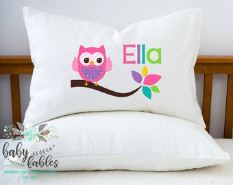 Personalized Owl Pillow, Owl Pillowcase, Little Girl Pillow, Room Decor, Little Girls Room, Summer Camp Pillow, Girls Room, Birthday Gift