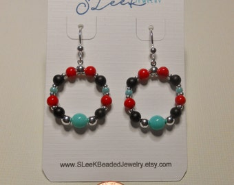 Turquoise beaded hoop earrings with red and black beads