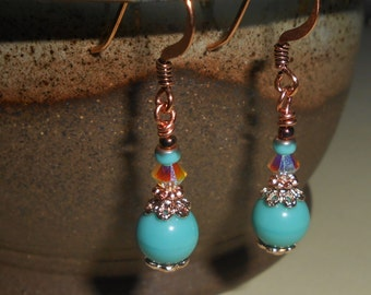 Turquoise glass bead and crystal earrings