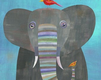 Colorful Elephant Canvas Art Print