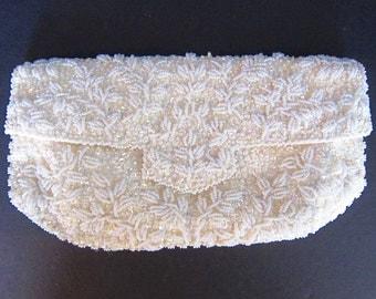 Vintage Clutch Evening Bag Vintage La Regale Beaded Evening Bag Off White Bridal Purse Hong Kong Winter White Envelope Purse C145