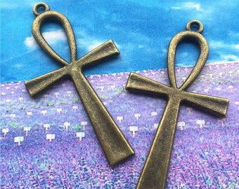 20pcs  55x30mm antiqued bronze plated cross charms findings