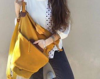 Handmade convertible backpack in  yellow canvas- leather ,named Moira