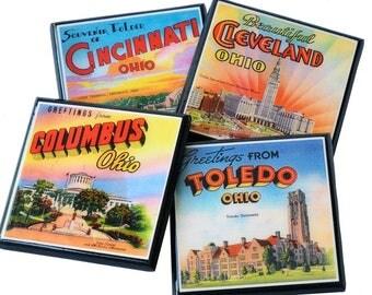 Ohio Coaster Set Ohio Pride Ohio State Decor Wood Drink Coasters Cleveland Columbus Toledo Cincinnati Hostess Gift Party Favor Buckeye Decor
