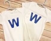 RESERVED - blue W onesie 0-3m