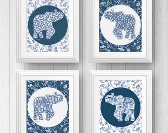 Boy Elephant Nursery Decor, Blue Elephant Wall Print, Elephant Wall Art, Picture Of Elephant, Blue Baby Nursery Print, Elephant Print