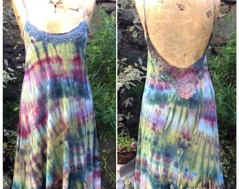 Low Back, Hand Dyed Pixie Dress With Lace Detail