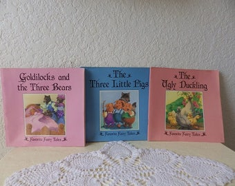 Three Classic Childrens Story Books, Goldilocks, Three Little Pigs and The Ugly Duckling, Near New Condition. 1993.