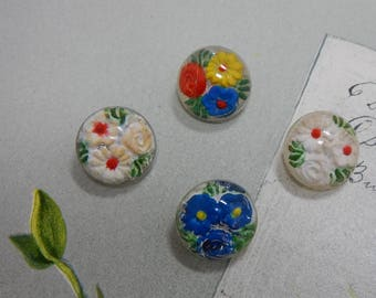 4 Antique Two - Piece Glass Paperweight Flower Buttons