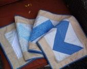 Cool blue chevron quilted table runner handmade runner