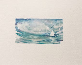 Untitled - original watercolor painting - abstract - landscape - ocean - travel - iceland