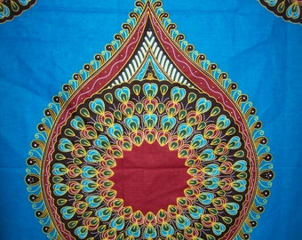 Turquoise Blue Peacock dashiki fabric per panel wholesale/ Angelina fabric/ Addis Ababa fabric/ Dashiki Fabric/dashiki dress/ Dashiki skirt