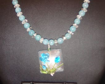 Aquamarine with Apatite Necklace and Earring set with Lampwork Pendant