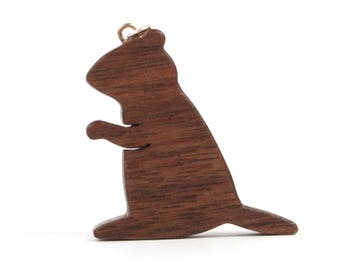 Groundhog Pendant Necklace, Woodchuck Jewelry, Groundhog Day Jewelry, Wood Animal Pendant, Walnut
