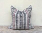 "Stripe Pillow Case Nature Hemp Hand Woven Vintage Textile 18"" x 18"" Front reverse same fabric, boro black pink cushion cover hemp pillowcase"