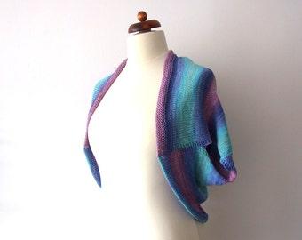 knit shrug, short sleeved bolero, blanket sweater, cotton and acrylic, turquoise, purple, pink,