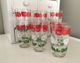 Vintage Juice Glass Swanky Swig Lot of 9 Red Green White
