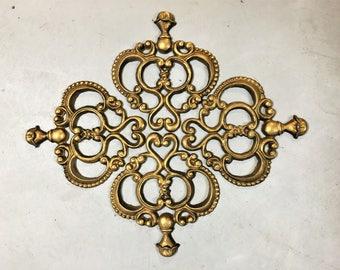 Vintage Medallian Wall Decor Metal HODA Antique Gold Set of 4