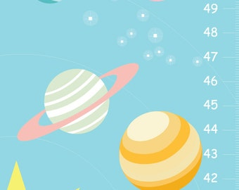 Solar System personalized Growth Chart - mint and coral