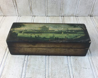Vintage Wooden Made in Italy Stamp Box