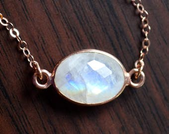 Rainbow Moonstone Choker, Rose Gold Jewelry, Short Layering Necklace, Bezel Gemstone Pendant, Silver or Pink Gold Cable Chain, Free Shipping