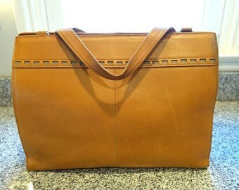 Vintage camel tan leather shoulder bag, Kawano Japan camel leather large bag