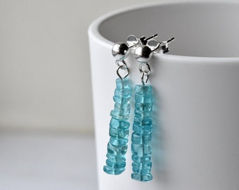 Blue Earrings - Sterling Silver - Post Earrings - Gift for Her - Apatite Earrings - Gemstone Jewellery - Silver Post Earrings