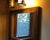 Reclaimed Barn wood framed  mirror made from  rustic salvaged 1800s barn  wood rustic-home decor rustic bathroom mirror