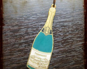 Vintage Laurent Perrier large french Champagne pendant - Jewelry from France for Repurposed Projects