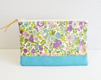 Liberty floral fabric zipper pouch with medium weight cotton in turquoise blue - Emily - cosmetic pouch, pen case, zip closure
