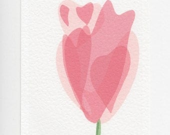 Tulip Print. A5 Small Print // Pink Flower Modern Art Print.