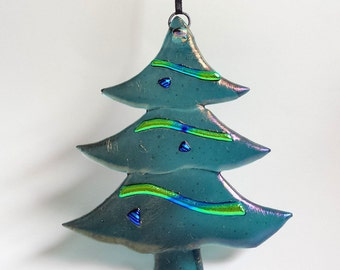 NEW! Fused Glass Christmas Ornament - Rainbow Iridized Christmas Tree - Slate Blue Tree with Dichroic Glass Accents