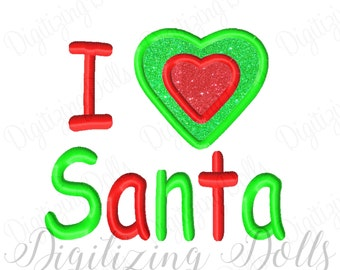 I Heart Santa Applique 2 Embroidery Design 4x4 5x7 6x10 Christmas Love INSTANT DOWNLOAD