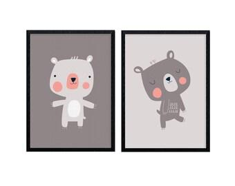 Set of Two Bear Prints, Kids Art, Nursery Art, Animal Illustration, Cute Character Art, Home Decor - 8 x 11 Print
