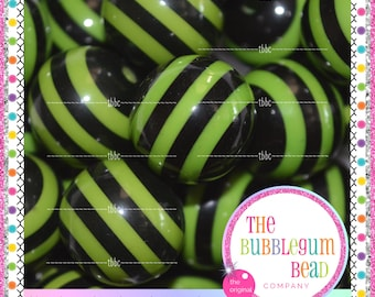 LIME GREEN & Black Striped 20mm Bubblegum Beads, Chunky Beads, Gumball Bead, Acrylic Beads, Round Beads, DIY Jewelry, The Bubblegum Bead Co.