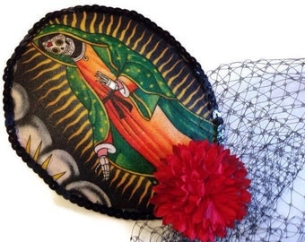 Day Of The Dead Sugar Skull Tear Drop Cocktail Hat With Veil French Netting Rockabilly Pin Up Girl