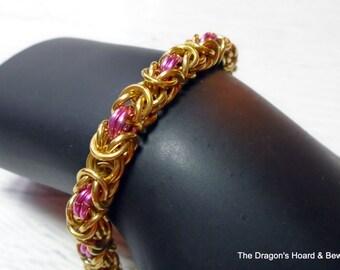 Byzantine Bracelet - Gold & Pink