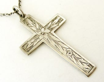 Antique Edwardian large sterling silver engraved cross and chain