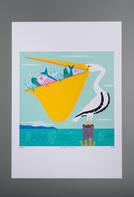 The Greedy Pelican -  Childrens decor - limited edition - animal art poster print - iOTA iLLUSTRATiON